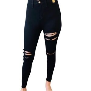 COPY - Black Distressed High Waisted Skinny Jeans